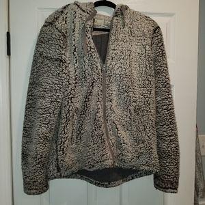 Grey and black sherpa jacket